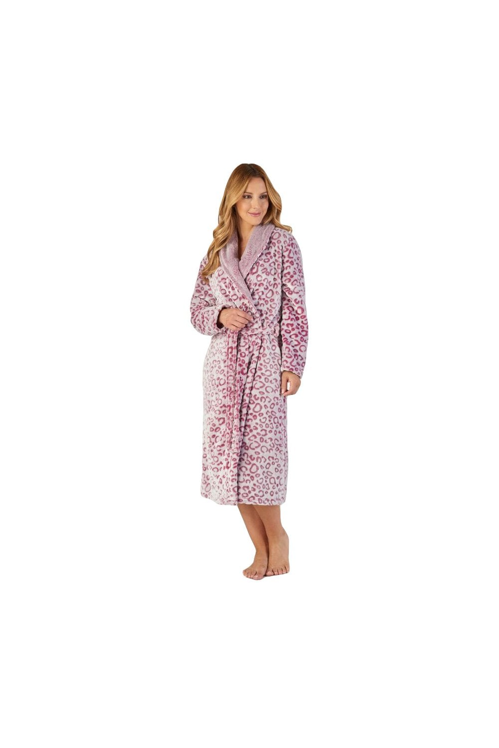 ee110d6949 Slenderella Animal Print Wrap Dressing Gown - Pink - Womenswear from ...
