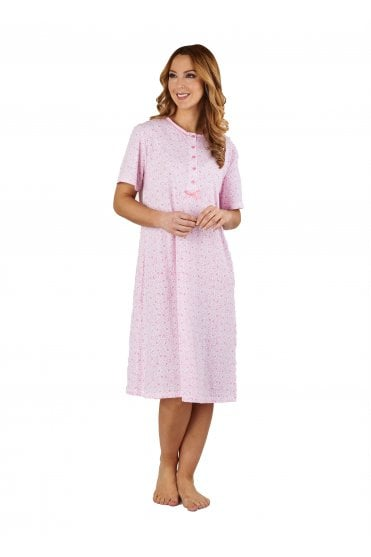 Ditsy Floral Short Sleeve Nightdress - Pink ad87a2214