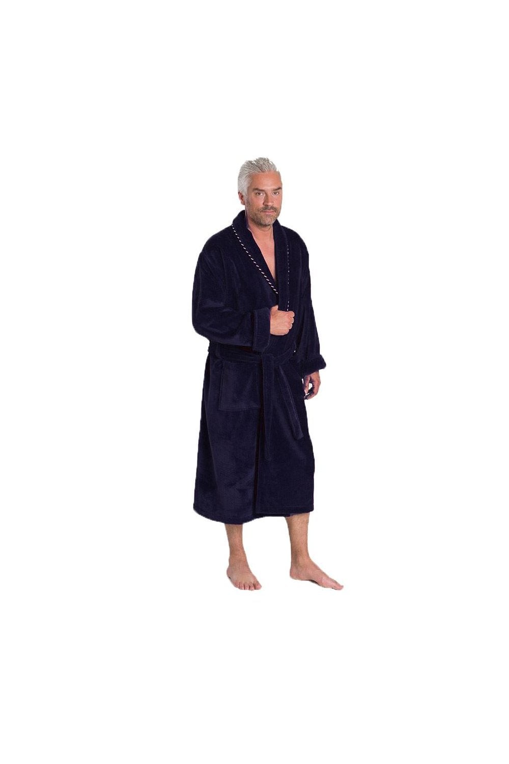 Bown of London Earl Navy Dressing Gown - 100% Cotton - Bath Robe ...
