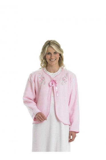 1e38a6a1dd Embroidered Fleece Tie Bed Jacket - Pink. Slenderella ...