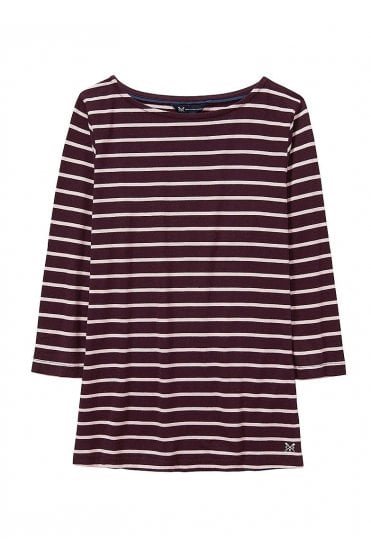 265534c27997 Essential Breton Top - Fresh Damson/Pure Pink Sale Item · Crew Clothing ...