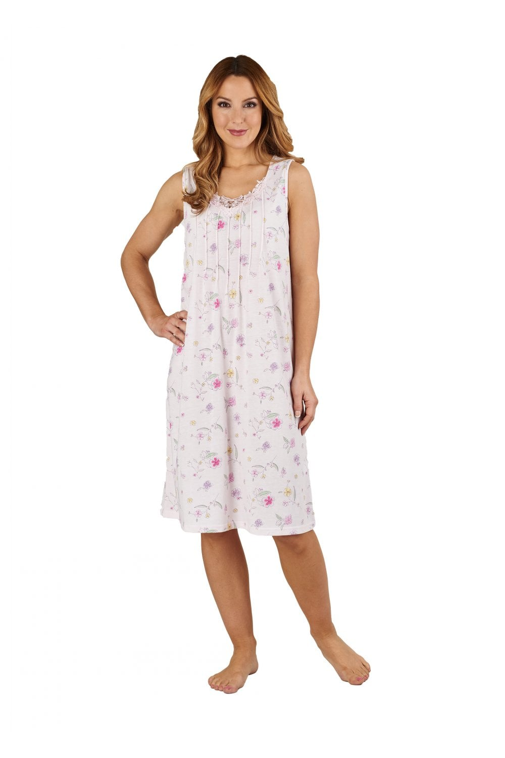 Slenderella Floral Lace Trim Nightdress - Pink - Nightwear   Robes ... d48d0b2be
