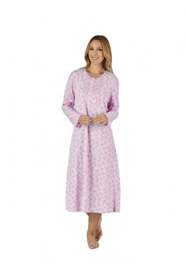e8d3217a7d Floral Meadow Long Sleeve Nightdress - Lilac