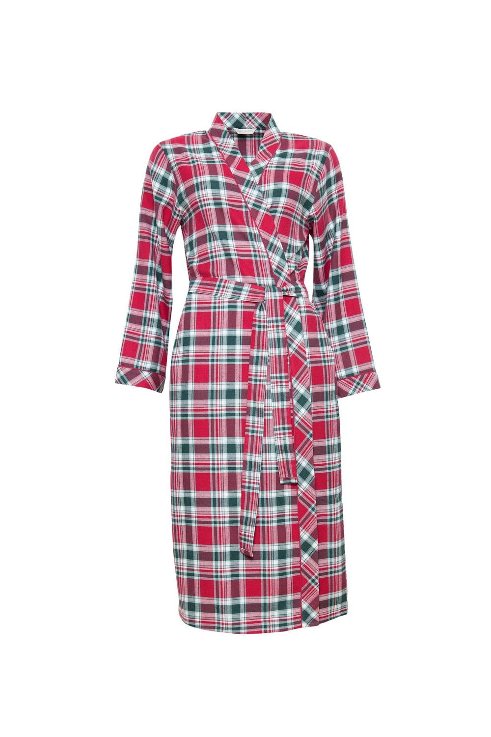 Cyberjammies Holly Check Brushed Long Robe - Red Green - Womenswear ... 103184204