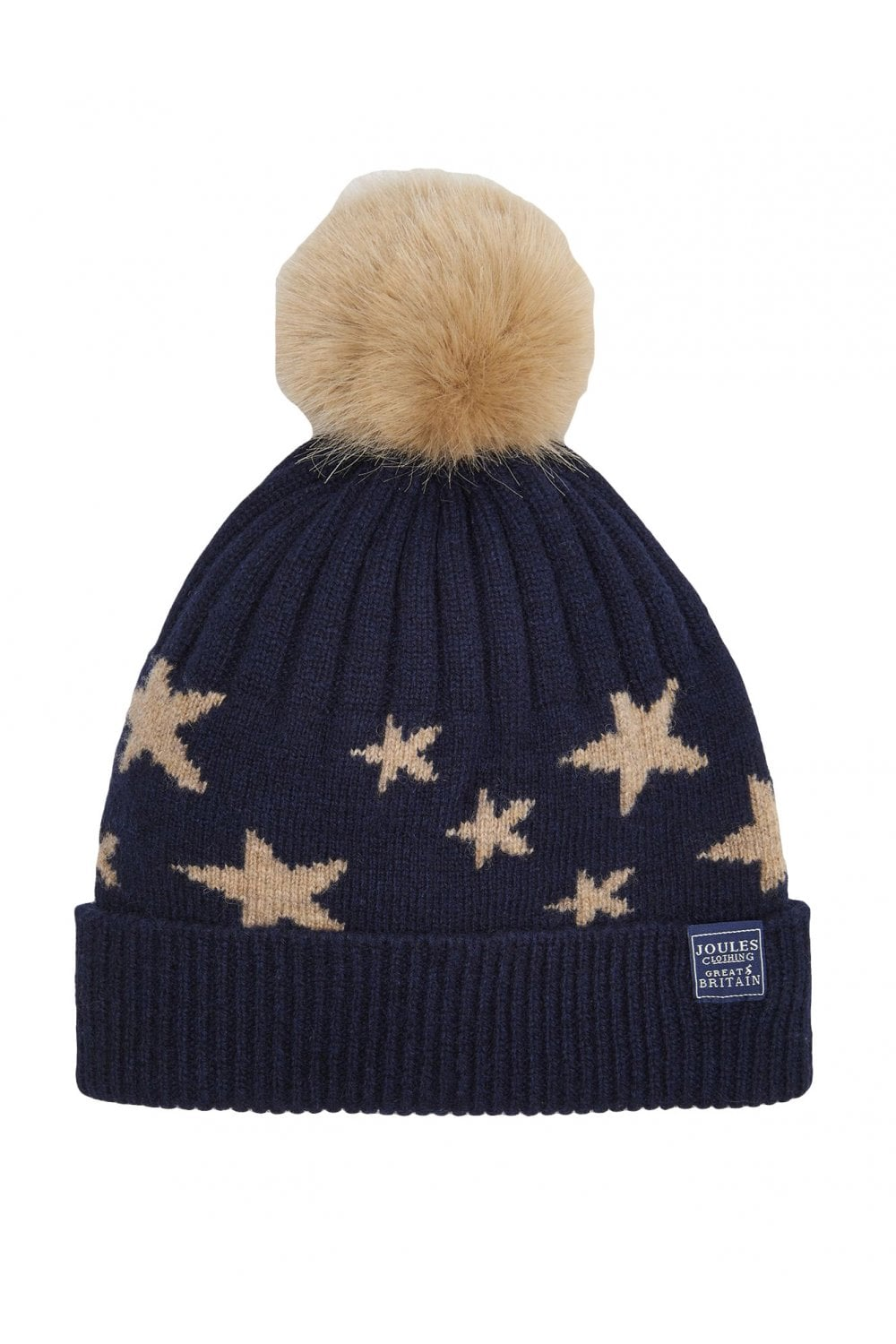 89c1c663553af Joules Womens Saffy Intarsia Bobble Hat - Navy Star - Womenswear ...