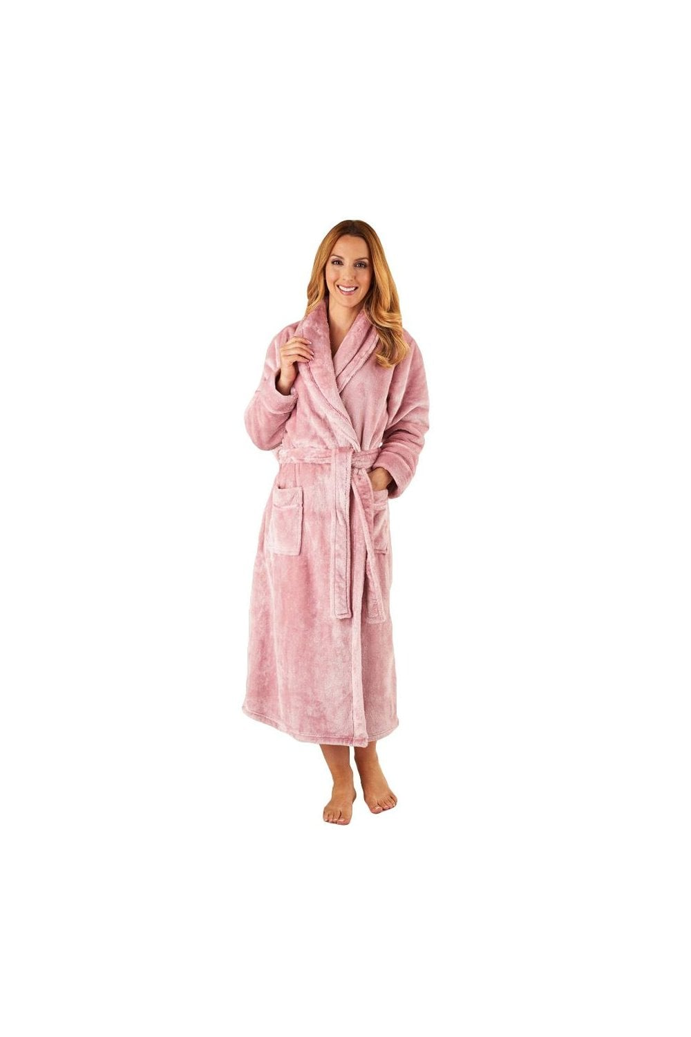 Slenderella Luxury Fleece Dressing Gown - Pink - Nightwear   Robes from  Potters of Buxton UK d116d0cf6