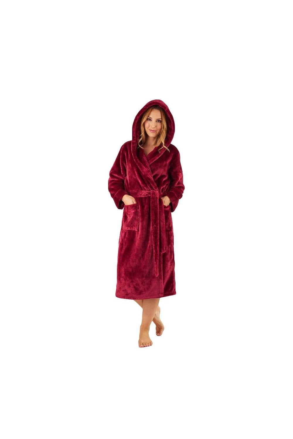 4f7947b678d0 Slenderella Luxury Fleece Hooded Dressing Gown - Raspberry - Nightwear    Robes from Potters of Buxton UK
