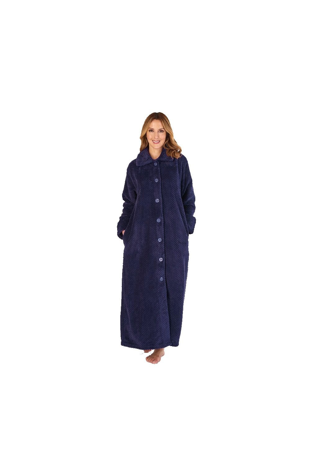 Navy Slenderella Luxury Waffle Button Through 52  Dressing Gown