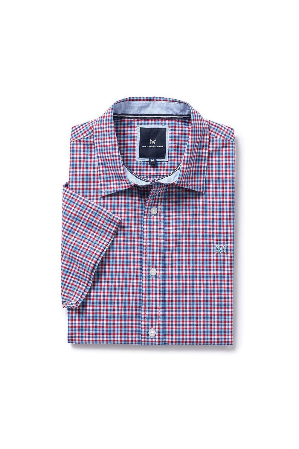 Size 12  new style 42dcb a25ee Mens Abney Check Short Sleeve Shirt - Soft  Crimson ... a24fa77dc
