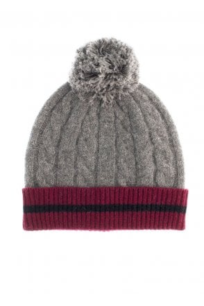 bb9fe5c44aa Dents Mens Cable Knit Hat - Grey Burgundy - Menswear from Potters of ...