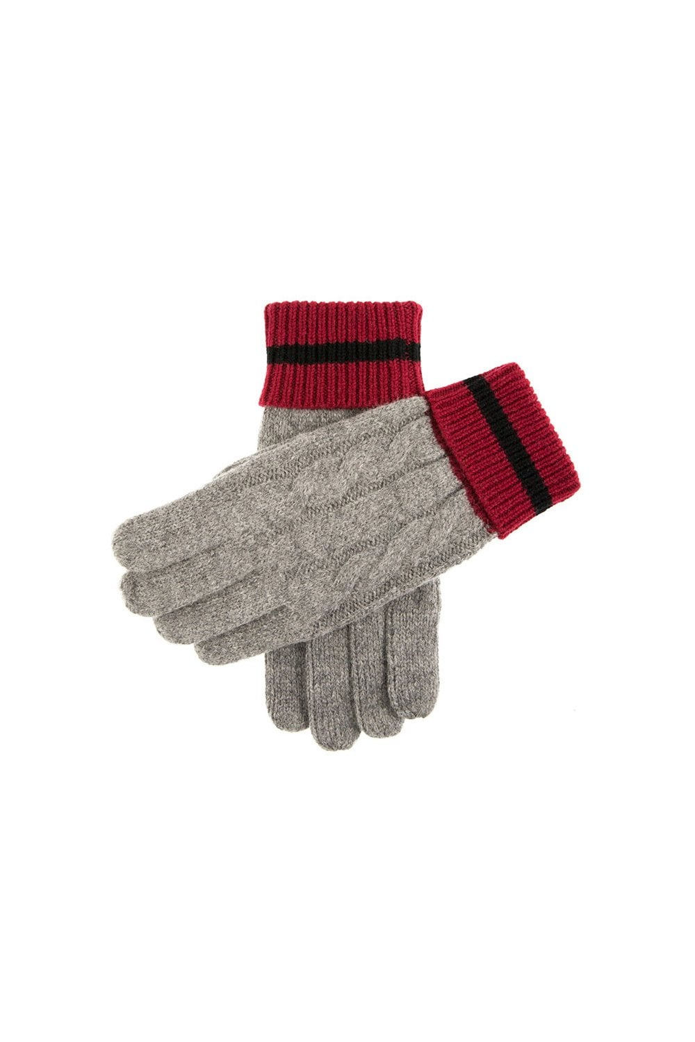 ae4061da457 Dents Mens Holwick Cable Knit Gloves - Grey Burgundy - Menswear from ...