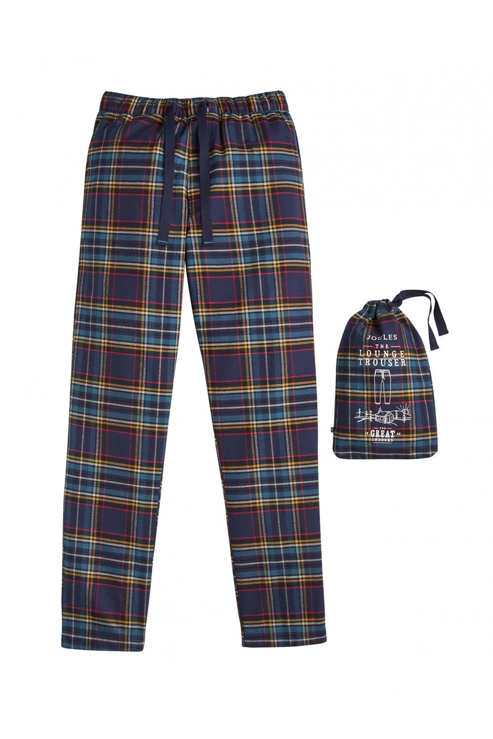 Joules Mens The Sleeper Checked Lounge Trousers - Navy Check ... e893b4838