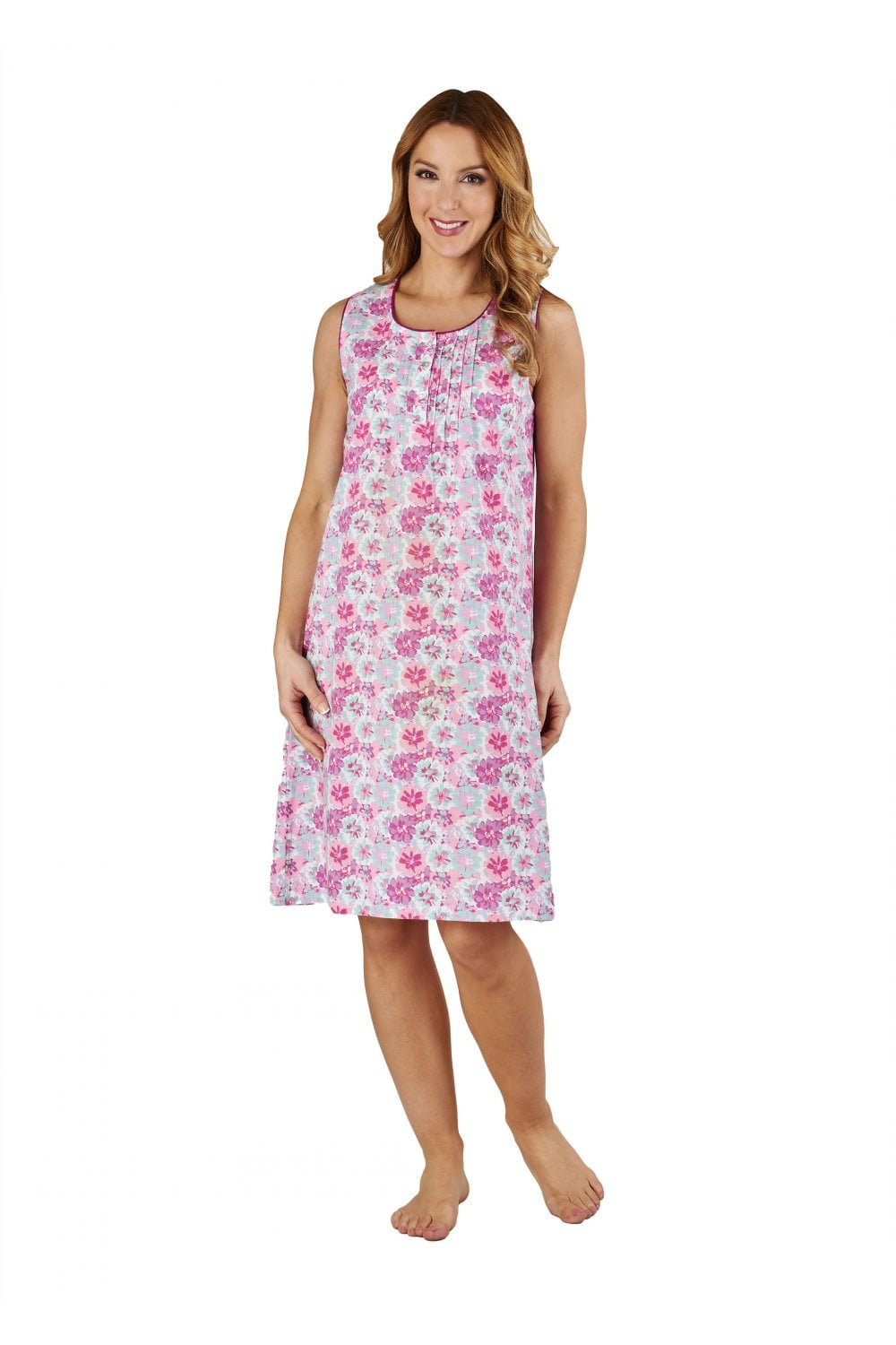 Slenderella Painted Flowers Sleeveless Nightdress - Pink - Nightwear ... a35bed41f