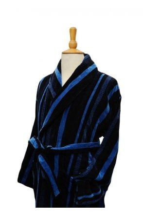 Bown of London Salcombe Blue Dressing Gown - Pure Cotton Bath Robe ...