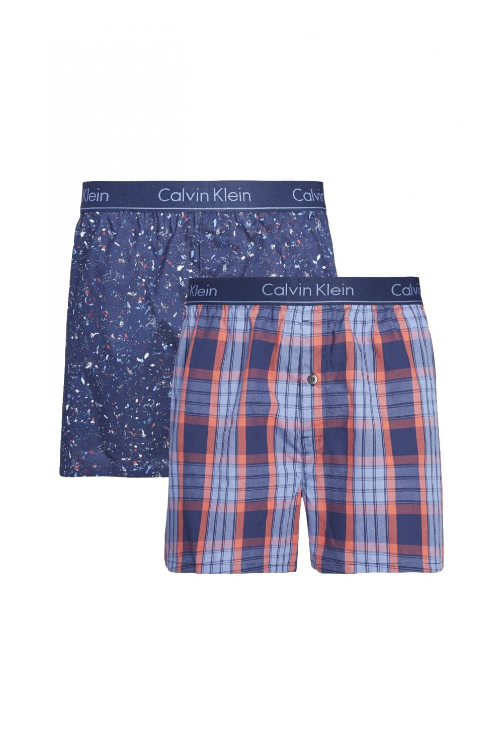 50e74c6e2171 Calvin Klein Slim Fit Boxer 2 Pack - Party Print/Grid Plaid Mediev ...