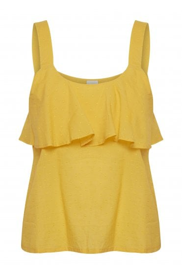 262d3094 Talina Dobby Frill Detail Top - Old Gold