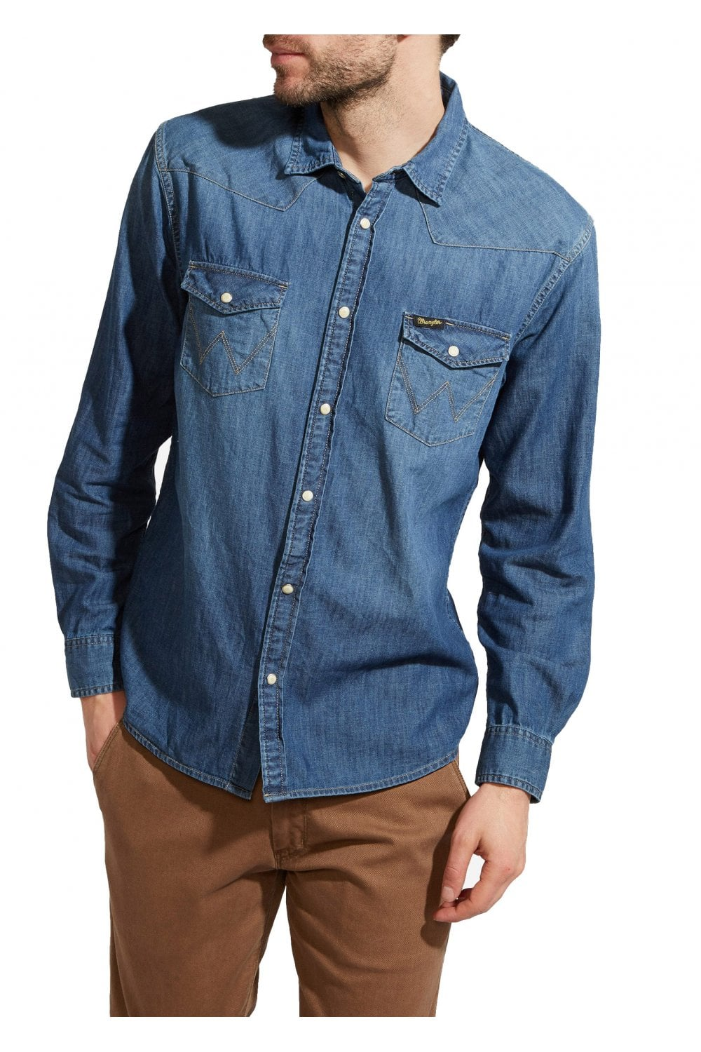49d902a1 Wrangler Western Denim Shirt - Mid Indigo - Shirts from Potters of ...