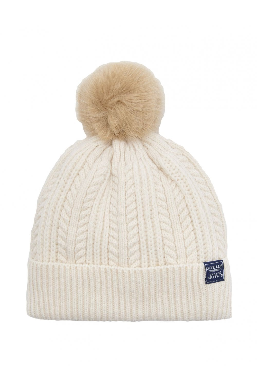 Joules Womens Bobble Cable Knit Hat - Cream - Womenswear from ... 42419ad4e43