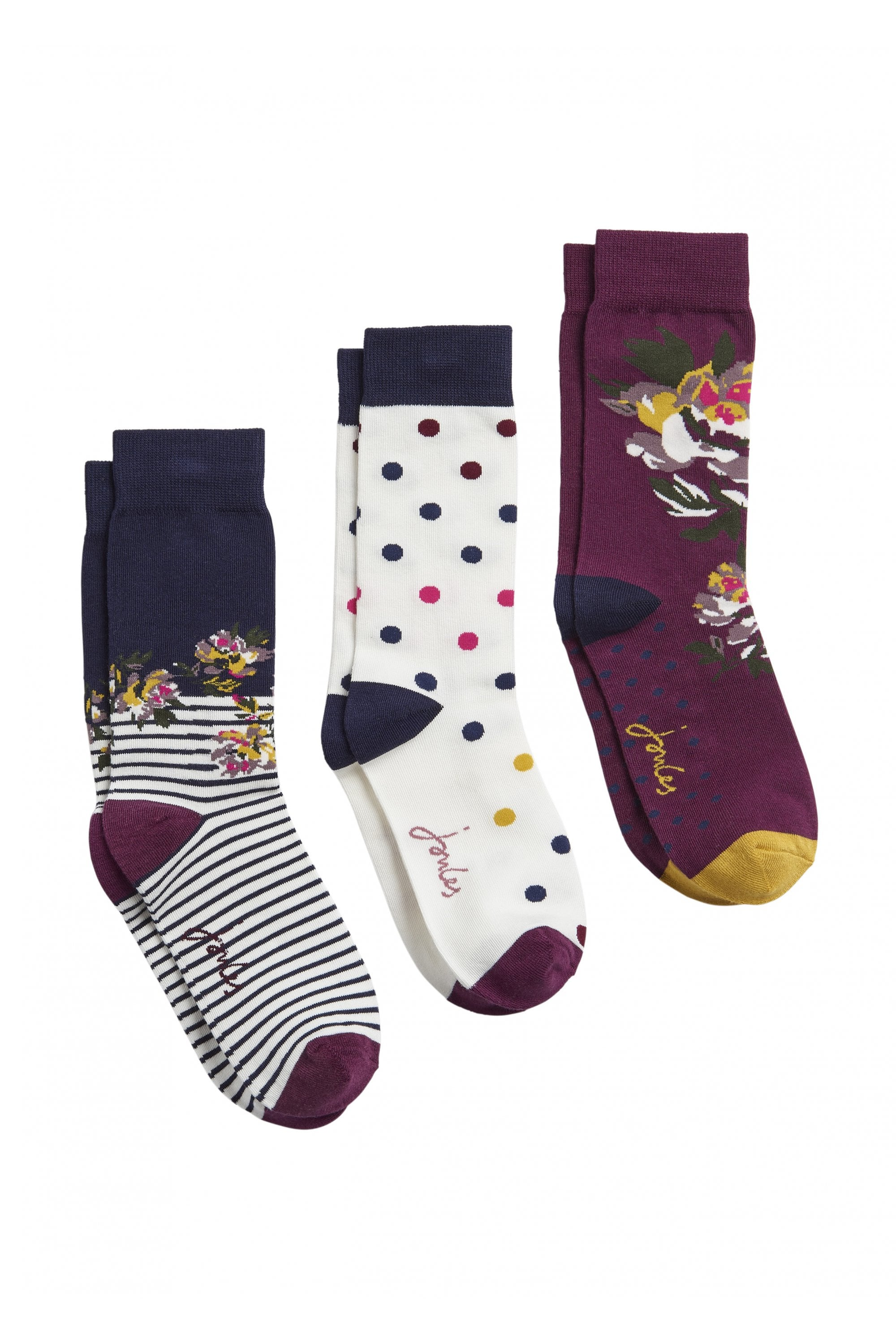 Joules Brilliant Bamboo 3pk Womens Underwear Socks Navy Multi Floral All Sizes