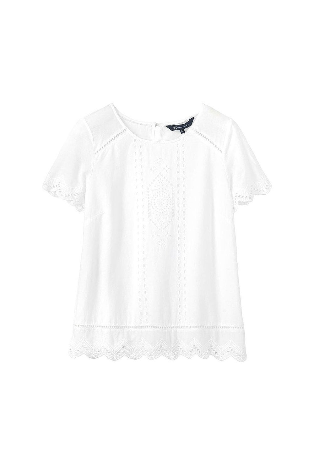 908294b7ce5e Crew Clothing Womens Broderie Front Top - Optic White - T-shirts ...