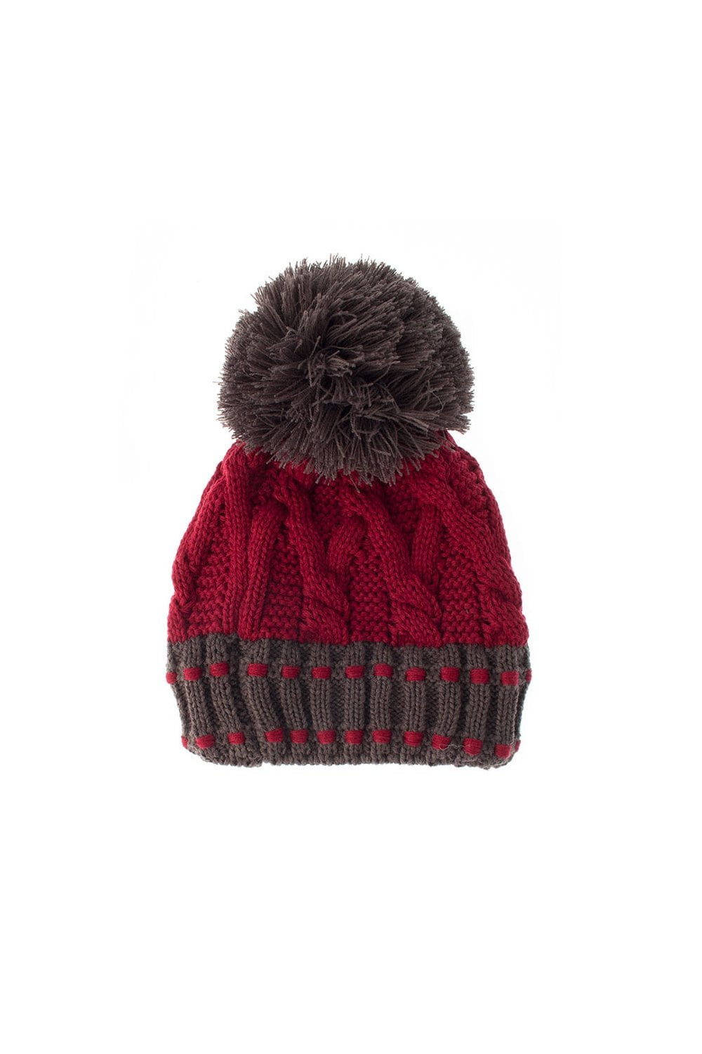 3f9ee921b0524 Dents Womens Chunky Cable Knit Hat - Claret Charcoal - Womenswear ...