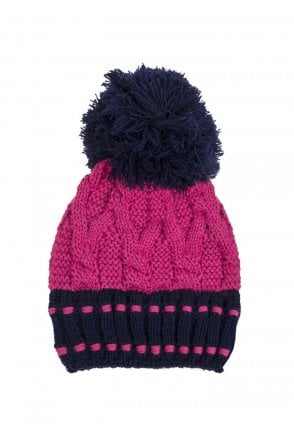 5e514ad3bbad8 Dents Womens Chunky Cable Knit Hat - Navy Hot Pink - Womenswear from ...