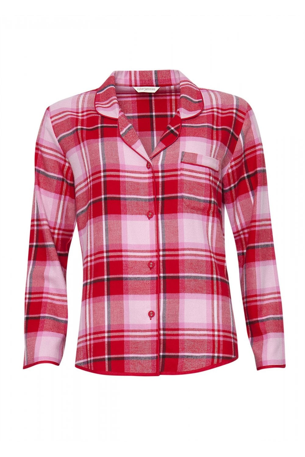 a44229eb9 Cyberjammies Womens Erin Brushed Check Pyjama Top - Red/Pink ...