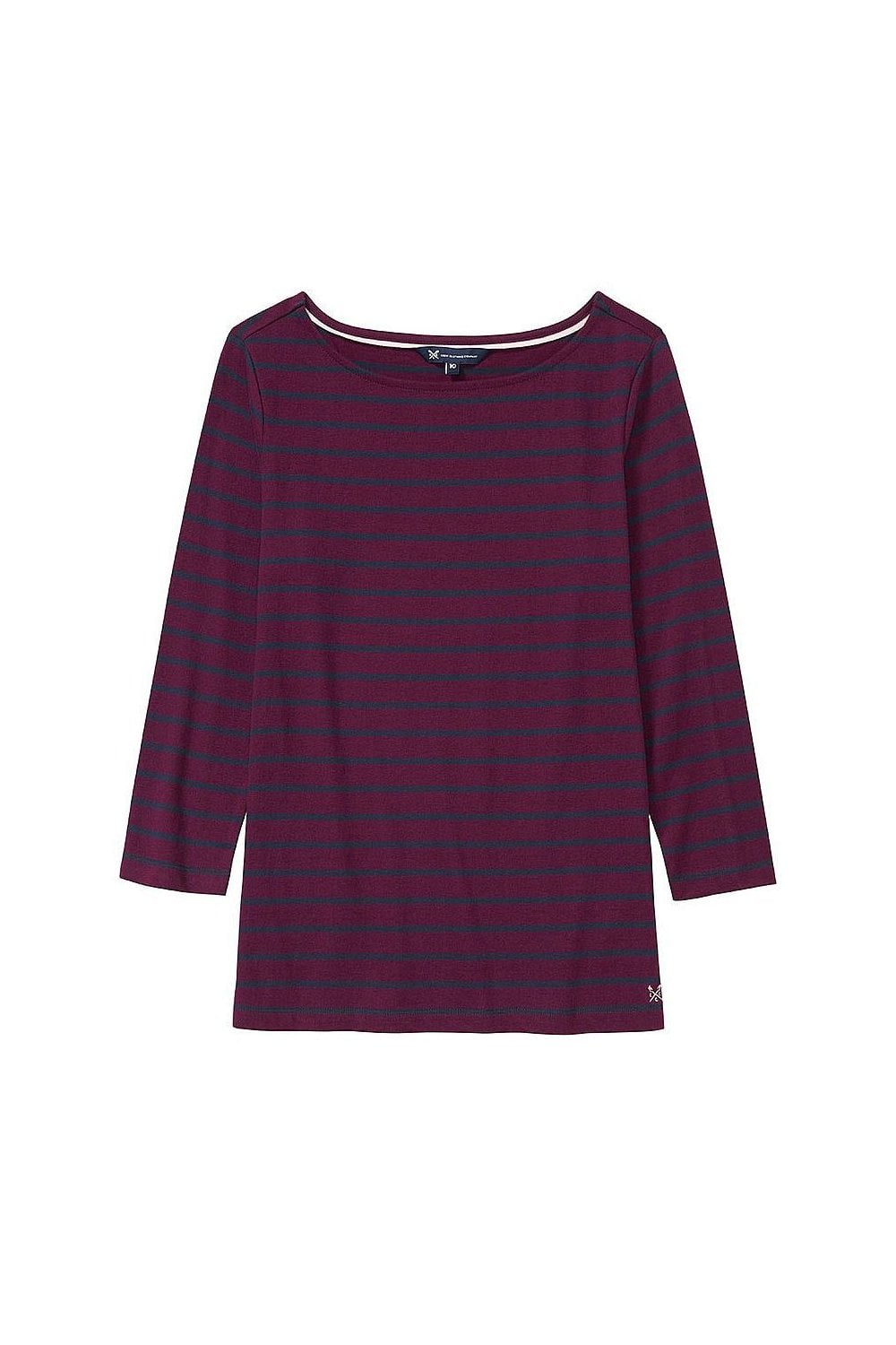 dd6046d94e84 Crew Clothing Womens Essential Breton Top - Aubergine/Navy - T ...