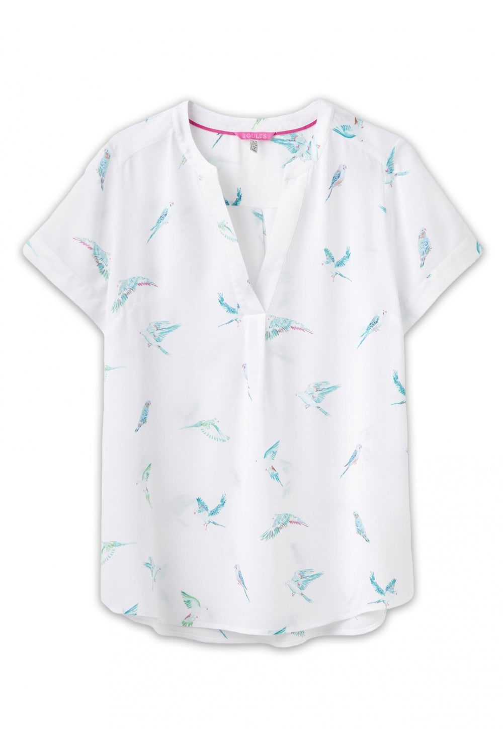 178bec30dd10aa Joules Womens Iona Short Sleeve Blouse - White Parakeets - T-shirts ...