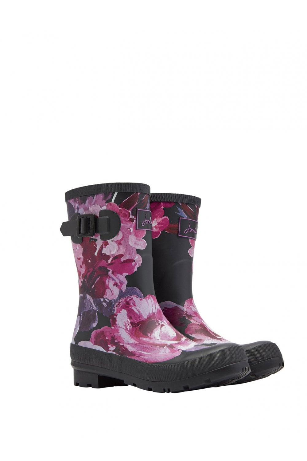 Joules Womens Molly Mid-Height Printed Wellies - Black Winter Floral ... 3e358e40a