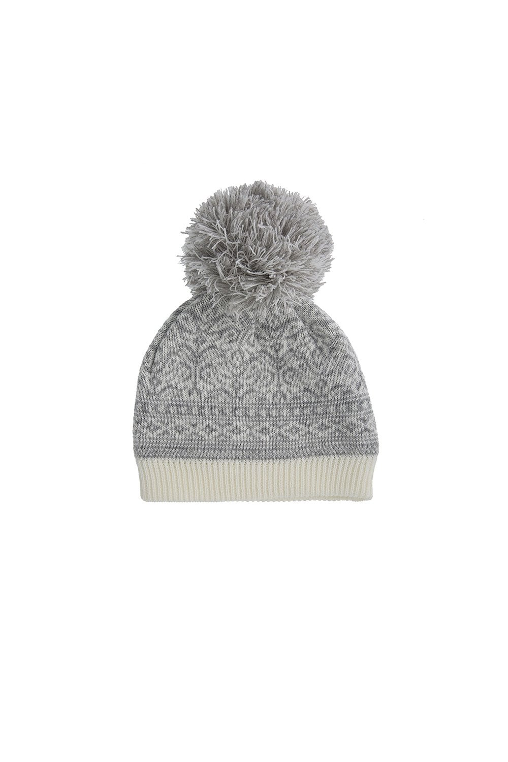 Dents Womens Nordic Pattern Hat with Pom Pom - Winter White Silver ... 20df3f19e02