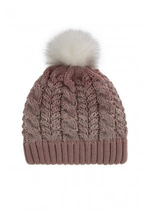 Dents Womens Ombre Cable Knit Hat with Pom Pom - Pink - Womenswear ... 576b7fb4aff