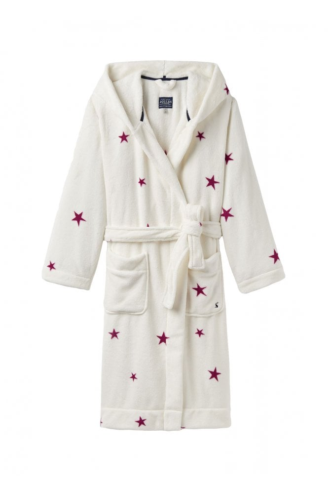 6e57b9c034 Joules Womens Rita Hooded Fleece Dressing Gown - Cream Fuchsia Star ...