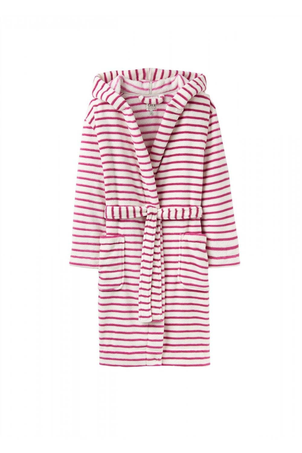 6eeb81f3c6 Joules Womens Rita Hooded Fleece Dressing Gown - Pink Stripe ...