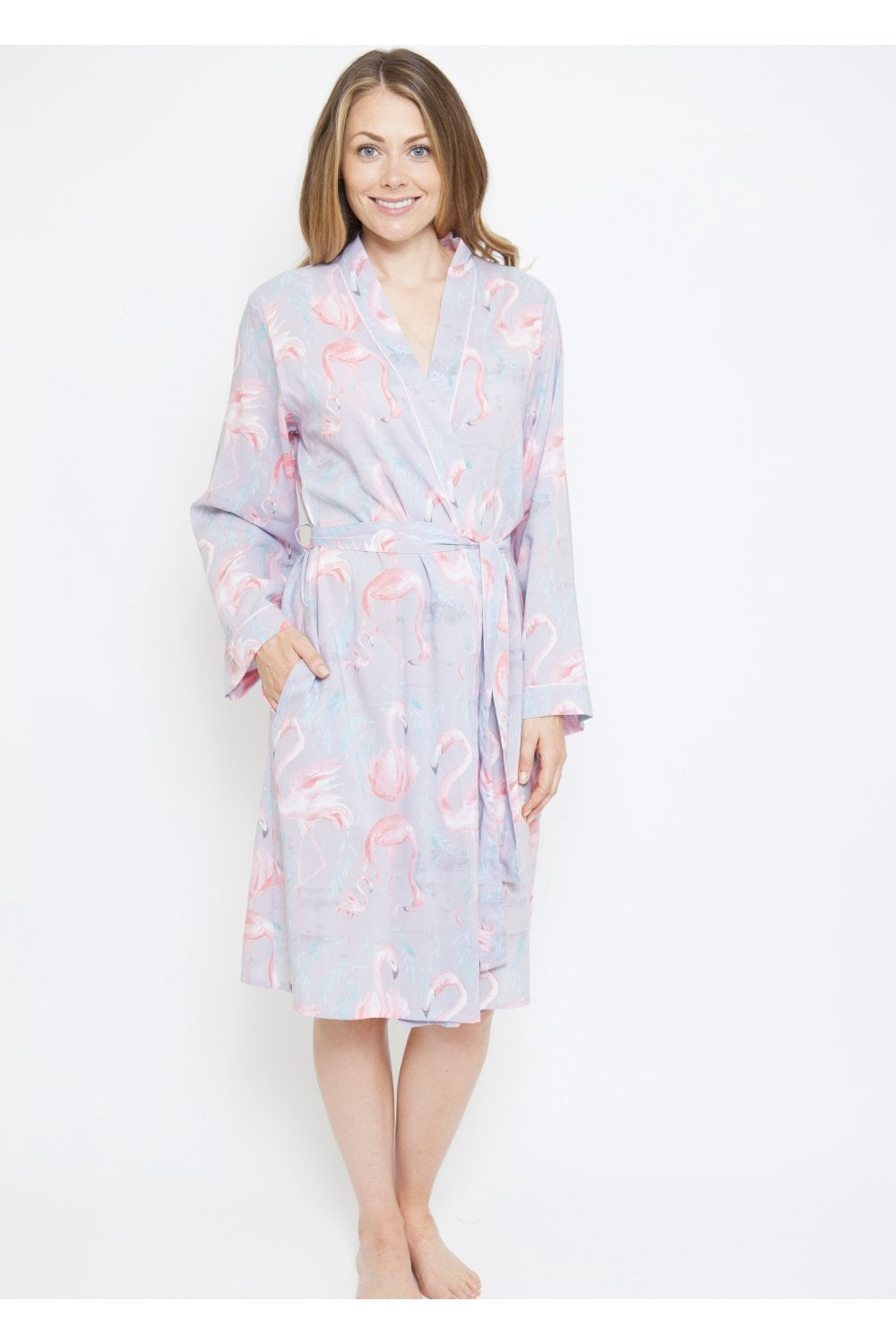 the sale of shoes authentic dirt cheap Zara Flamingo Print Short Robe - Grey/Pink